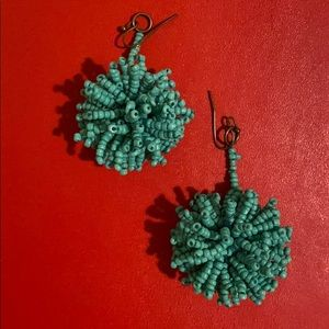 Blue Pom Pom earrings